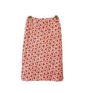 Boden 8R Pencil Skirt Orange White Knee Length